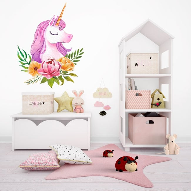Vinilos infantiles o juveniles unicornio acuarela