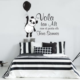 Vinilos frases en catalán oso panda vuela alto