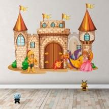 Pegatinas de vinilos castillo con princesa y príncipe