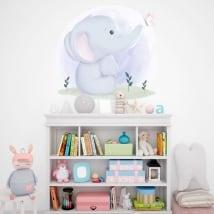 Vinilos y pegatinas para bebé elefante con mariposa