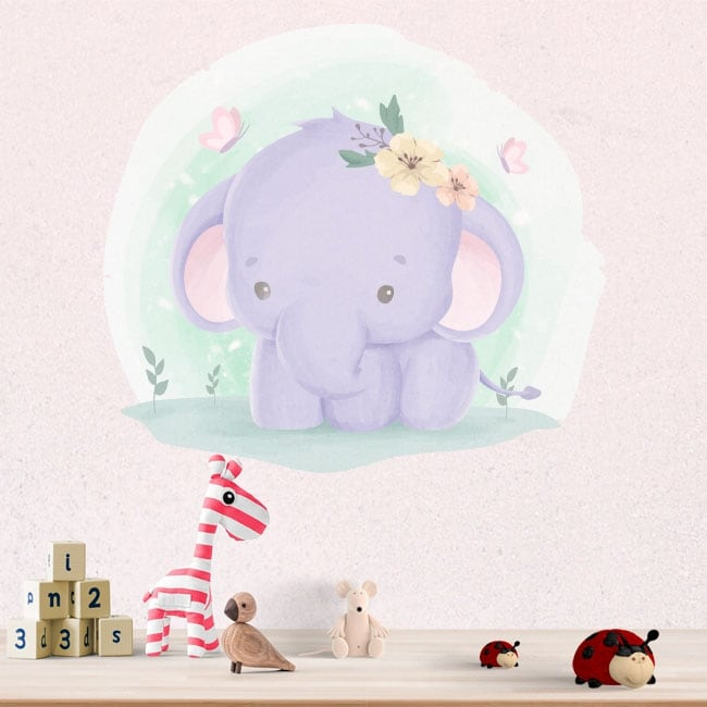 Pegatinas de vinilos infantiles elefante y mariposas