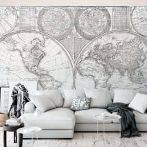 Fotomurales de vinilos mapamundi blanco y negro