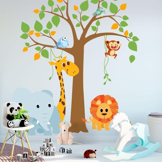 Vinilos y pegatinas infantiles árbol con animales