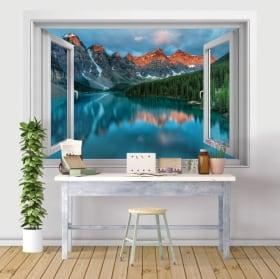 Vinilos y pegatinas ventanas 3d lago y montañas de la india