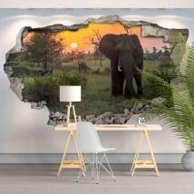 Vinilos y pegatinas 3d elefante atardecer en áfrica