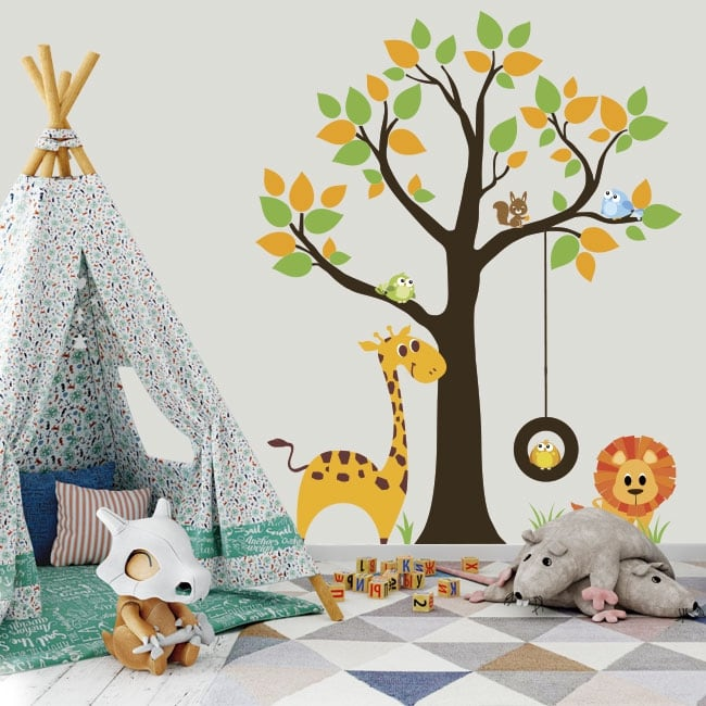 Vinilos y pegatinas árbol con animales infantiles