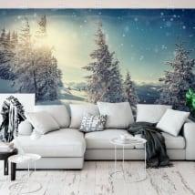 Fotomural atardecer en las montañas nevadas