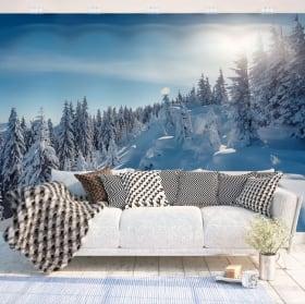 Fotomurales de vinilos atardecer en las montañas nevadas