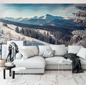 Fotomurales de vinilos paisaje con montañas nevadas