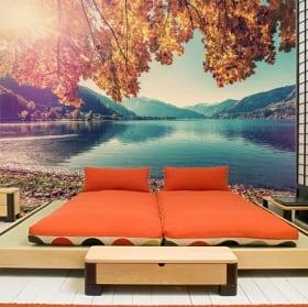 Fotomurales de vinilos austria atardecer en el lago zell