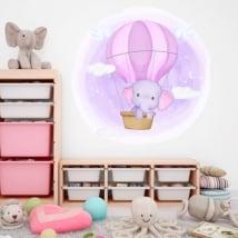 Vinilos y pegatinas infantiles elefante en el globo