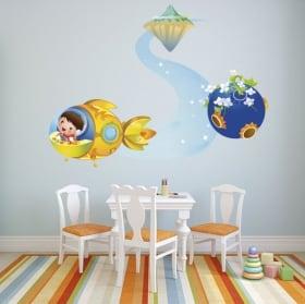 Vinilos y pegatinas infantiles vuelo espacial