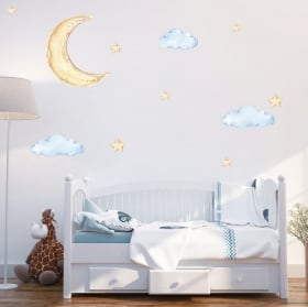Vinilos y pegatinas infantiles luna nubes y estrellas