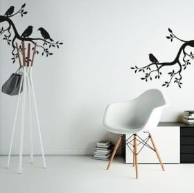 Vinilos y pegatinas ramas de árbol con pájaros