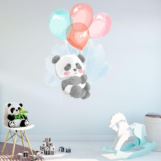 Vinilos y pegatinas infantiles oso panda con globos