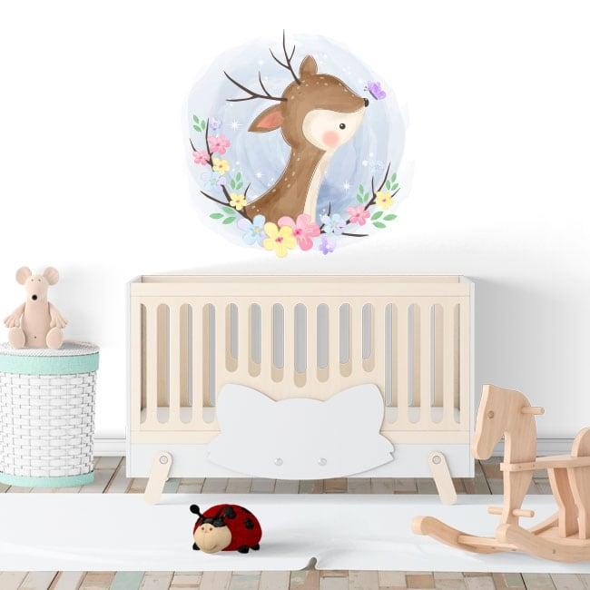 Vinilos y pegatinas para bebés bambi con mariposa