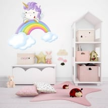 Pegatinas de vinilos infantiles unicornio y arcoíris