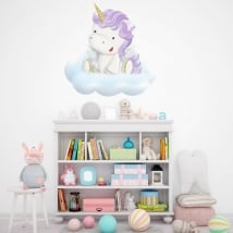 Pegatinas y vinilos infantiles unicornio en la nube