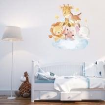 Vinilos y pegatinas infantiles animales en la nube
