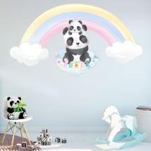 Pegatinas de vinilos infantiles osos panda y arcoíris
