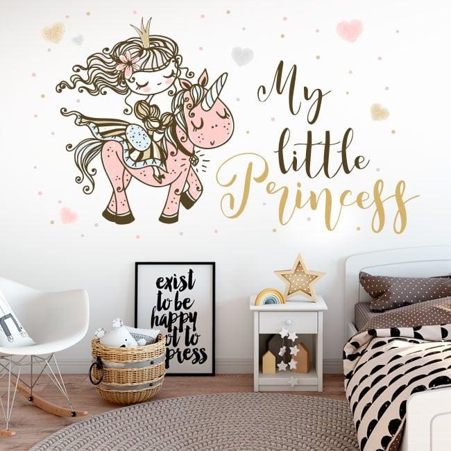 Vinilos y pegatinas infantiles princesa con unicornio