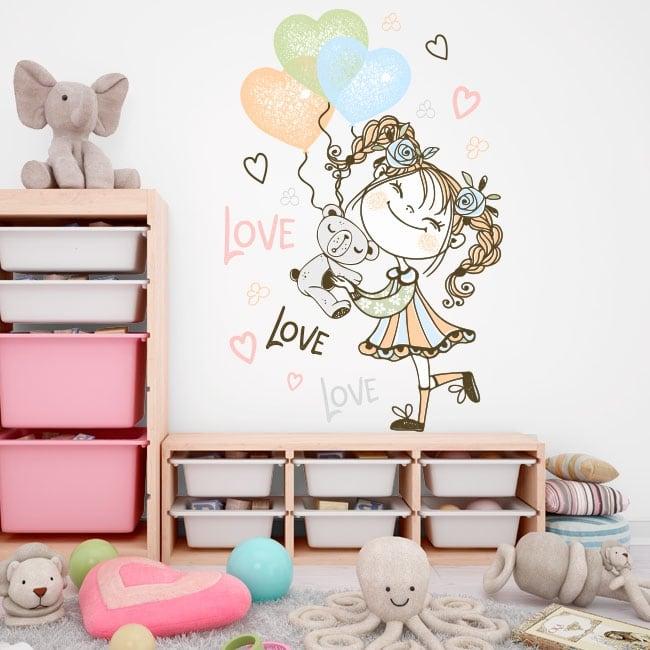 Vinilos y pegatinas niña con globos y oso de peluche