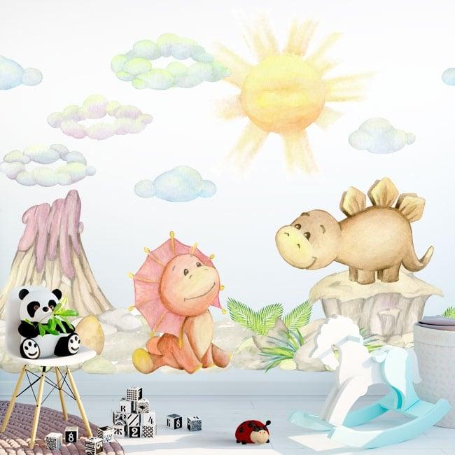 Vinilos y pegatinas paisaje con dinosaurios para bebé