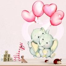 Vinilos y pegatinas elefantes con globos love