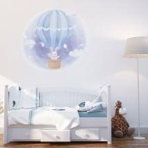 Vinilos y pegatinas infantiles conejo en el globo