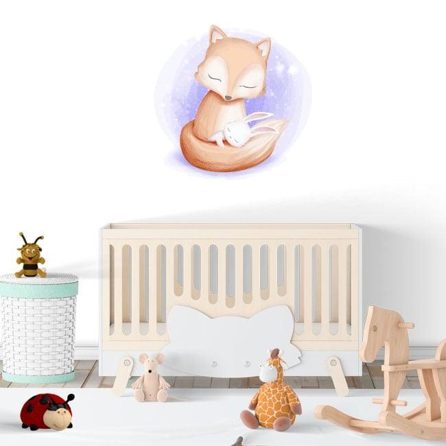 Pegatinas de vinilos infantiles o de bebé zorro y conejo