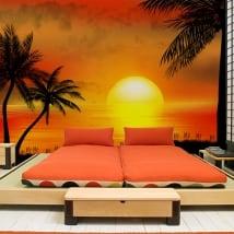 Fotomurales de vinilos ilustración atardecer en la playa
