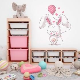 Pegatinas de vinilos conejo con globo y corazones