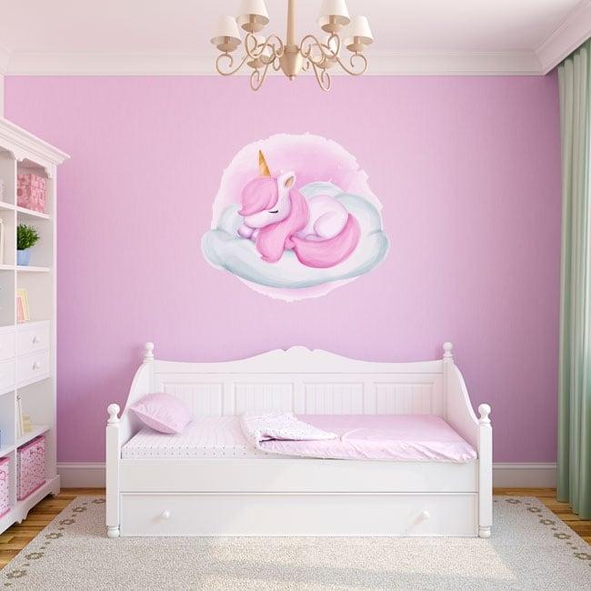 Pegatinas de vinilos infantiles unicornio en la nube