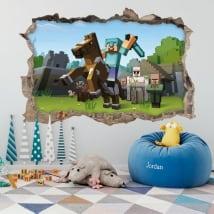 Vinilos y pegatinas 3d videojuego minecraft