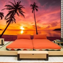 Fotomurales de vinilos palmeras atardecer en la playa