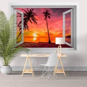 Ventanas de vinilos 3d palmeras atardecer en la playa