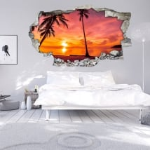Vinilos 3d palmeras atardecer en la playa