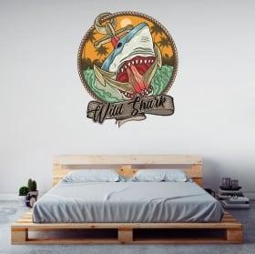 Vinilos y pegatinas tiburón wild shark