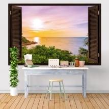 Vinilos y pegatinas ventana puesta de sol en el mar 3d