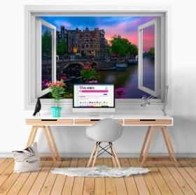 Vinilos paredes café papeneiland amsterdam ventana 3d