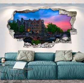 Vinilos agujero pared 3d café papeneiland amsterdam