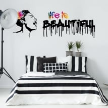 Pegatinas de vinilos grafiti banksy life is beautiful