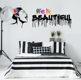 Pegatinas de vinilos grafiti banksy life is beautiful
