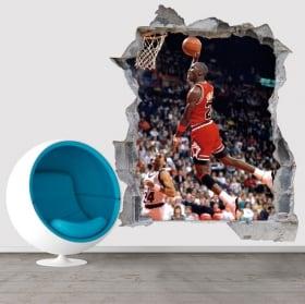 Vinilos y pegatinas 3d baloncesto michael jordan