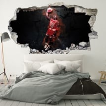 Vinilos decorativos 3d michael jordan nba