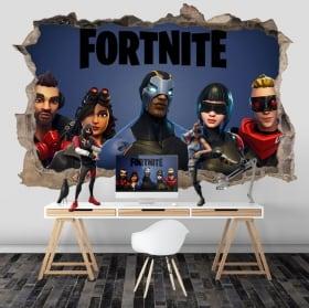 Vinilos paredes 3d videojuego fortnite