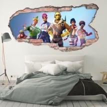 Vinilos decorativos paredes 3d videojuego fortnite