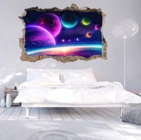 Vinilos pared 3d colores del espacio estelar