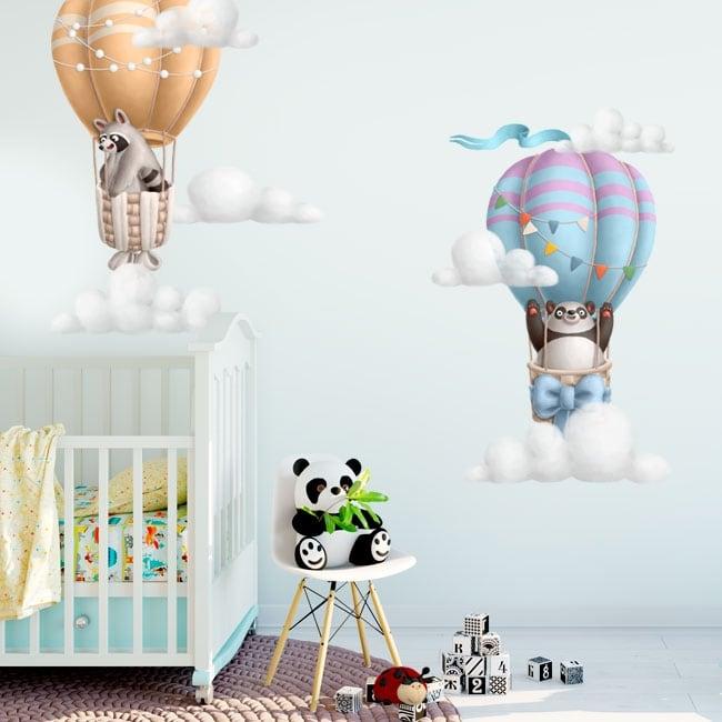 Vinilos y pegatinas infantiles oso panda y mapache en globo