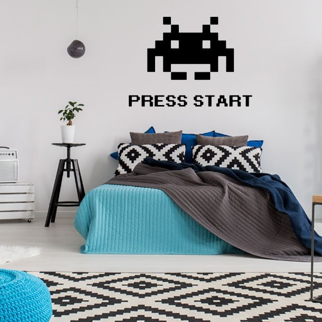 Vinilos y pegatinas press start space invaders